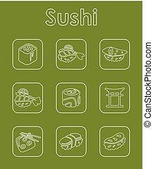 simple, ensemble, sushi, icônes
