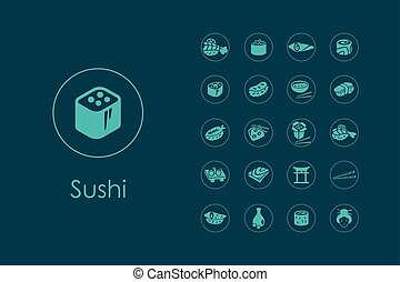 simple, ensemble, sushi, icônes