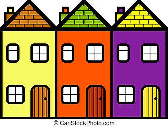 simple, ensemble, trois, maisons, debout, plat, dessin animé