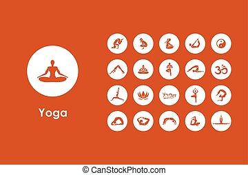 simple, ensemble, yoga, icônes