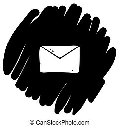 Simple envelope icon vector illustration on black background