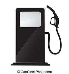 simple, estación, gas, icono