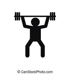 simple, estilo, weightlifting, icono