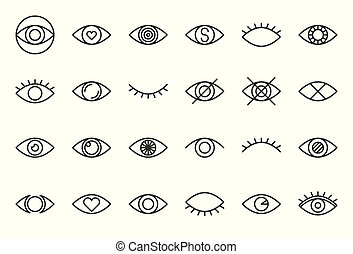 simple eye outline vector icon, pixel perfect