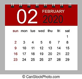 simple, février, calendrier, 2020., bureau