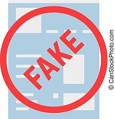 simple, falsificación, página, red, social