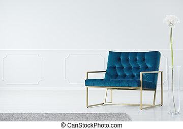 simple, fauteuil, salle