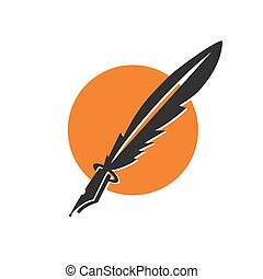 feather ink pen application icon and vector logo