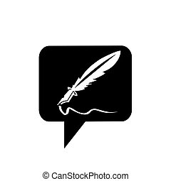 simple feather ink pen application icon and vector logo