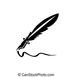 simple feather ink pen icon and vector logo