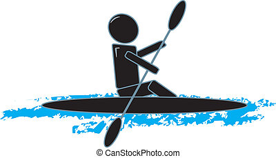 Simple Figure Kayaking - drawing of a simple figure kayaking