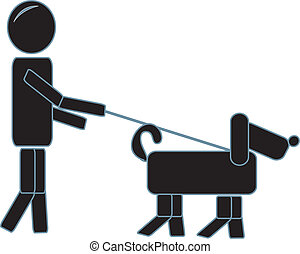 Simple Figure Walking His Dog
