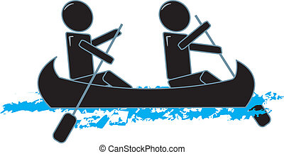 Simple Figures Canoeing - drawing of two simple figures in a...