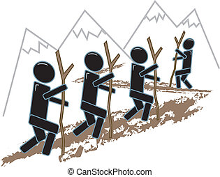 Simple Figures Hiking - drawing of simple figures hiking...