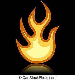Simple fire icon isolated on black background.
