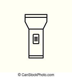 Simple Flashlight Thin Line Icon Symbol Design