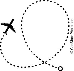 simple flat black and white air travel flight path icon