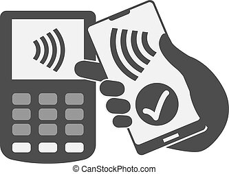 simple flat black and white contactless payment concept with...