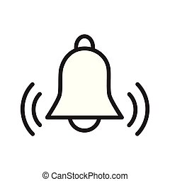 simple flat black outline vector icon alarm bell ringing...