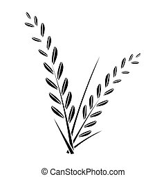 rice plant - simple flat black rice plant icon vector