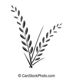 rice plant - simple flat black rice plant icon vector
