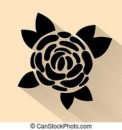 simple flat black rose vector hand drawn romance flower icon illlustration vintage style