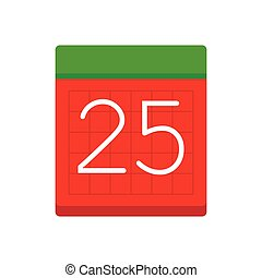 Simple flat calendar with date 25