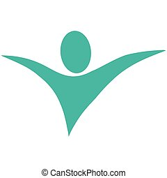 abstract human with open arms icon