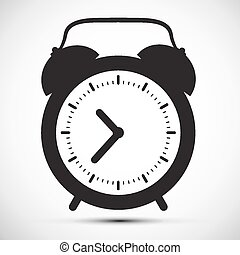 Simple Flat Design Alarm Clock Vector Icon Illustration