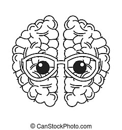 brain with glasses icon