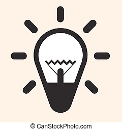 Simple Flat Design Bulb Vector Icon Illustration