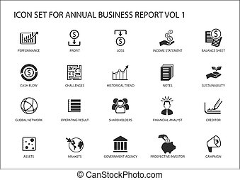 Simple flat design business icons for annual company ...