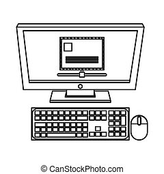computer monitor with envelope on screen icon