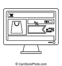 computer monitor with shopping website on screen icon