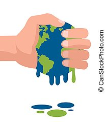 hand holding planet earth melting icon
