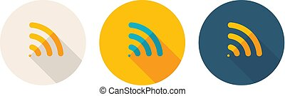 Simple Flat Design Icon Indicated Wi-Fi Zone. Vector Illustration.