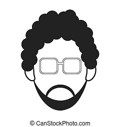 man with curly hair and beard icon