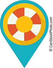 Simple Flat Design Pin, Position Marker with Lifebuoy.