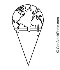 planet earth melting icon