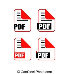 Simple flat download pdf file icon vector logo illustration isolated on white background. Pdf download. Pdf download icon.