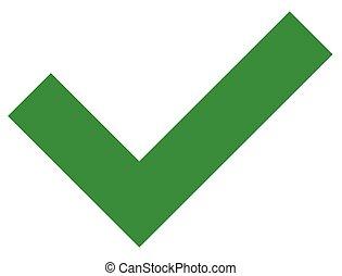 Simple flat green checkmark, tick icon on white