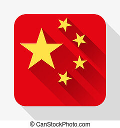 Simple flat icon China flag. Vector.