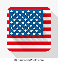 Simple flat icon USA flag. Vector.