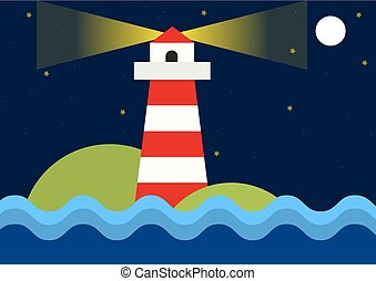 Simple flat illustration of lighthouse during night