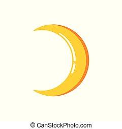 Simple flat minimalist crescent moon icon