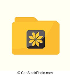 Simple Flat minimalist yellow Picture Gallery folder icon in rounded square style