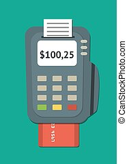 POS terminal - Simple flat POS terminal with credit card...