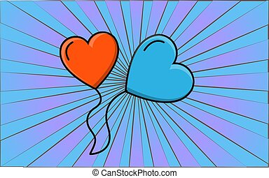 Simple flat style icon of beautiful two balloons in the form of hearts for the feast of love on Valentine's Day or March 8th. Vector illustration