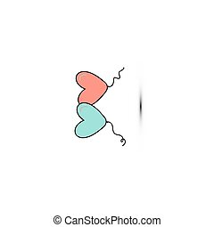 Simple flat style icon of beautiful two balloons in the form of hearts for the feast of love on Valentine's Day or March 8th. illustration.