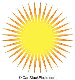 Simple flat sun clip-art, sun icon with edgy corona